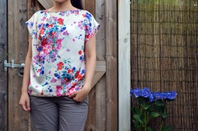 My summer print top with asymmetrical neckline