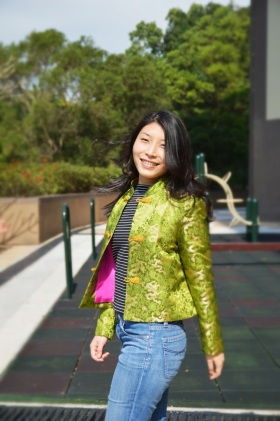 Chinese silk brocade jacket - lime version