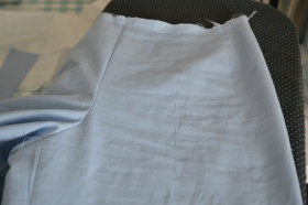 Thread basting the crease lines and hip lines