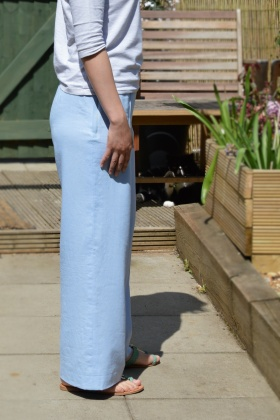 Straight leg trousers side view - think the side seam is okay..