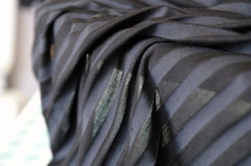 Stripy viscose jersey - The black stripes are semi-transparent while the grey stripes are opaque